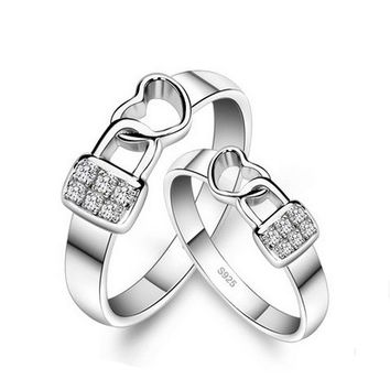 Lock Heart Custom Engravable Wedding Bands for Him and Her - Engravable Couples Rings - Personalized Jewelry for 2 Personalized Couples Gifts | His Her Necklaces and Bracelets | Engraved Wedding Rings | Couples Clothing