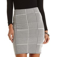 Houndstooth Bodycon Pencil Skirt by Charlotte Russe - Black/White