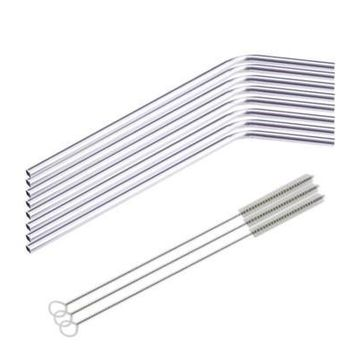 8 Pcs Stainless Steel Metal Drinking Straw Reusable Straws + 3 Cleaner Brush Kit Elegant Practical Fashion  [9305971079]