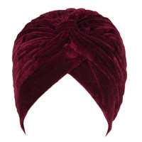 Wine Red Velvet Turban Hat