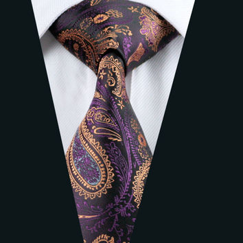 Men`s Tie 100% Silk Purple&Peru Paisley Jacquard Woven Necktie For Formal Wedding Party Business