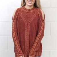 Cold Shoulder Dye Washed Knit Sweater {Clay}