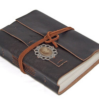 Brown Leather Journal with Cameo Bookmark