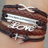 """anchor bracelet,love Bracelet, infinity bracelet, """"Where there is a will, there is a way"""", Christmas gift - Best Chosen Gift"""