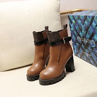 lv louis vuitton trending womens men leather side zip lace up ankle boots shoes high boots 187