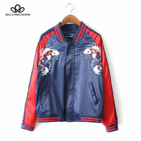 New spring summer unisex embroidered souvenir bomber jacket red blue