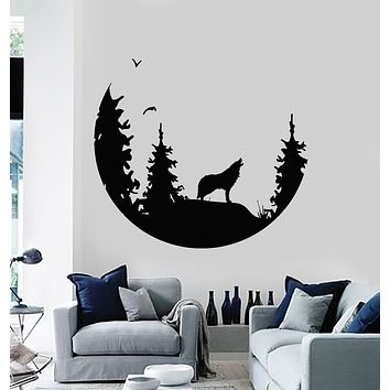 Vinyl Wall Decal Abstract Moon Howling Wolf Predator Bedroom Stickers Mural (g3483)