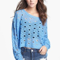 Painted Threads Open Knit Crop Sweater (Juniors) | Nordstrom