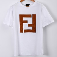 FENDI 2018 summer new double F symmetrical pattern patch embroidery letter short-sleeved T-shirt F0617-1 white