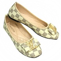 LV tide brand female classic chess board wild casual shoes White check