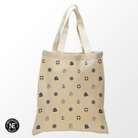 Navy Blue Sailor Pattern Tote Bag - 15X16 Inch Natural Tote Bag, White & Black - Anchor - Sail Boat - Life Presever - Compass