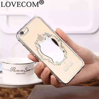 New Clover Electroplated Phone Case For iPhone 5 5S SE 6 6S 6Plus 6SPlus Women Make Up Mirror Protective Phone Back Cover Capa