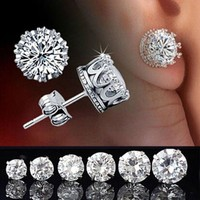 Women retro classical fashion elegant sterling silver crystal crown stud earrings jewelry white