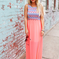 Peachy Aztec Sunset Maxi