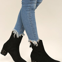Peggy Black Suede Studded Mid-Calf Boots