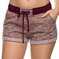 French Terry Jogger Shorts - Burgundy