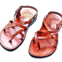 "Greek Leather ""Crisscross 2"" Sandals style Thin Strapped &  Adjustable Biblical Strong Black/Brown Sandals size's : US 5-12   EU 35-46"