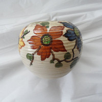 ON SALE Vintage 1949 - 1950 Ceramic Hand Painted Vase/Signed/Quo Vadis from GOUDA, Holland/Very Collectible/Bulbous Shaped Art Deco Table Va
