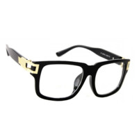 NWT Classic Retro Clear Lens Glasses Mariano Style Gold Accent Square Frame