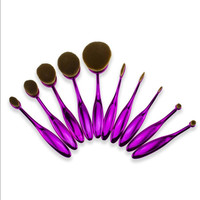 10 Pcs Tooth Brush Shape Oval Makeup Brushes Set