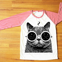 Cat Pott Head T-Shirt Cat Glasses Shirt Cat TShirt Raglan Tee Pink Sleeve Shirt Women T-Shirt Men T-Shirt Unisex T-Shirt Baseball Tee S,M,L