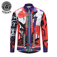 VERSACE Newest Hot Sale Men Women Print Long Sleeve Lapel Shirt Top