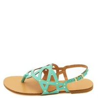 Laser Cut-Out Studded Thong Sandals by Charlotte Russe - Mint