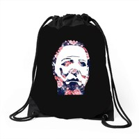 michael myers floral mask Drawstring Bags