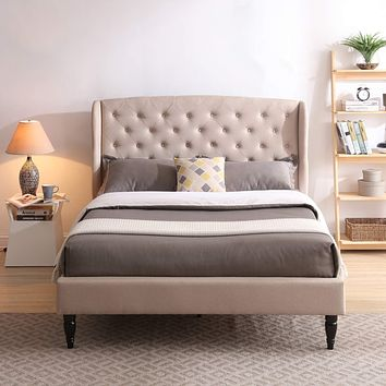 Classic Brands Coventry Upholstered Platform Bed   Headboard and Metal Frame with Wood Slat Support, Queen, Linen