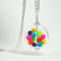 """Hand Blown Glass Bead with Colorful Pom Poms """"Gumball Necklace"""" Silver Finish"""
