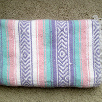 Pastel Mexican Blanket / Rug / Southwest / Soft / Multi-purpose / Throw / Mat / Boho / Seafoam Green, Pink, Light Purple, and White