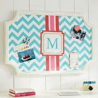 Scallop Framed Monogram Pinboard - Pool Chevron