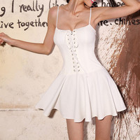 White Spaghetti Strap Skater Dress