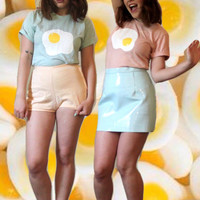 fried egg shirt / t-shirt / MADE-TO-ORDER / sea foam or apricot