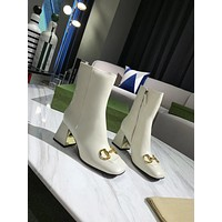 Gucci2021 Trending Women's men Leather Side Zip Lace-up Ankle Boots Shoes High Boots07040gh