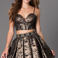 Two Piece Metallic Dave and Johnny Homecoming Dress