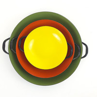 Set of 3 Mid Century Nesting Pans / Vintage Autumn Colored Enamelware / Danish Paella Style Dishes / Wok / Orange, Yellow, Green