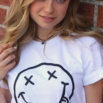 Nirvana Smiley Face White Graphic Unisex Tee
