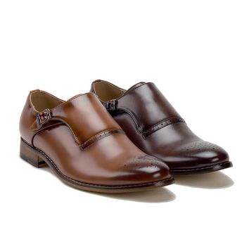 Men's Monk Strap Slip On Single Buckle Round Toe Loafers Dress Shoes