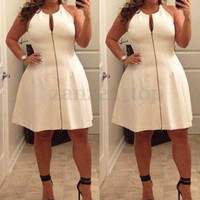 Sexy Women Plus Size Casual Bandage Bodycon Party Evening Zipper Dress Clubwear