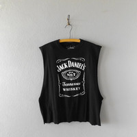 Jack Daniels Upcycled T shirt Mens Womens Extra Large Wiskey Party Tennessee Tee Hipster Boho Cut Off Worn In T-shirt Grunge Punk Tshirt