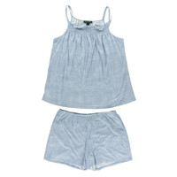 Lauren Ralph Lauren Womens Shirred Top Pull On Shorts Pajama Set