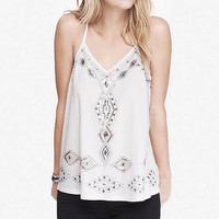 EMBELLISHED RACERBACK TRAPEZE CAMI - IVORY from EXPRESS