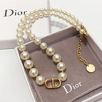 DIOR Classic Fashion Women CD Letter Pearl Necklace Accessories Jewelry