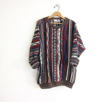 vintage Coogi styled sweater. abstract graphic sweater. oversized bill cosby sweater. men's size XL