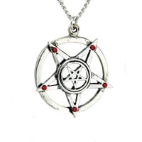 Inverted Pentagram Necklace with Red Stone Evil Pendant Jewelry