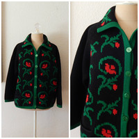 Vintage 60s Chunky Wool Cable Knit Button Collared Holiday Sweater Cardigan Medium