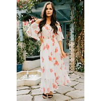 Time Together Floral Off The Shoulder Maxi Dress (Ivory)