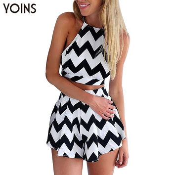Summer Sexy Women Crop Top Short Pants 2 Piece Set Fashion Black White Wave Print Suits Tie back Zip Back Sets