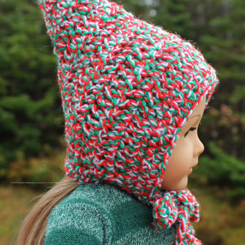green, white, red crochet hat ,Christmas doll hat,  pixie hat, elf hat, with ties,  18 inch doll clothes, American girl,  Maplelea